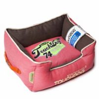 Touchdog® Sporty Vintage Throwback Large Rectangular Dog Bed in Pink/White