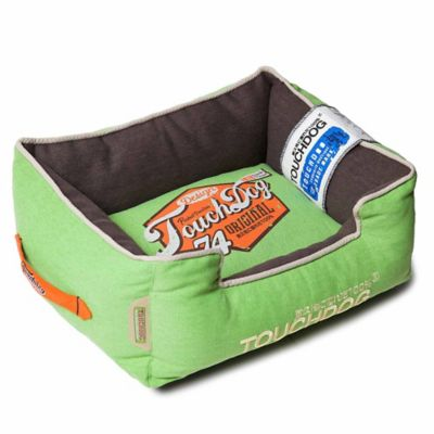 touchdog sporty vintage throwback large rectangular dog bed in greenbrown