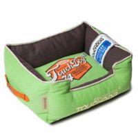 Touchdog® Sporty Vintage Throwback Medium Rectangular Dog Bed in Green/Brown