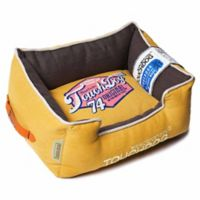 Touchdog® Sporty Vintage Throwback Large Rectangular Dog Bed in Yellow/Brown