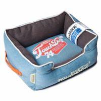 Touchdog® Sporty Vintage Throwback Large Rectangular Dog Bed in Blue/Grey