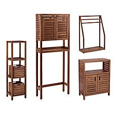 stained teak bathroom furniture in brown - bed bath & beyond