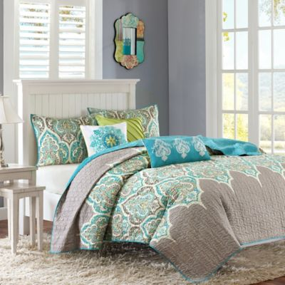 madison park nisha 6piece quilted fullqueen coverlet set in teal