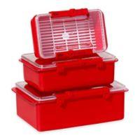 Oggi™ 3-Piece Snap N Seal Storage Set in Red