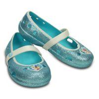 """Crocs™ Size 4 Kids' Keeley """"Frozen"""" Flat in Pool Blue"""