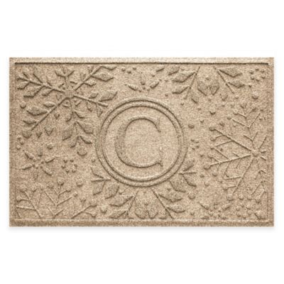 Weather Guard™ Snowflake 23 Inch X 36 Inch Holiday Door Mat In Camel