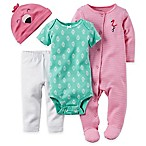 carter's® Newborn 4-Piece Flamingo Bodysuit, Footie, Pant, and Hat Set in Pink/Green