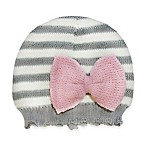 So'Dorable Size 0-6M Bow-Accent Striped Knit Hat in Grey/Ivory
