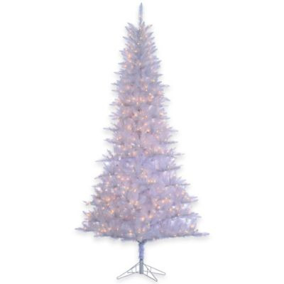 Elegant Tiffany Tinsel 9 Foot Pre Lit Christmas Tree In White With Clear Lights
