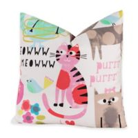 Crayola® Purrty Cat 20-Inch Square Throw Pillow in Pink/White