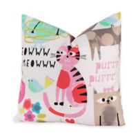 Crayola® Purrty Cat 18-Inch Square Throw Pillow in Pink/White