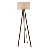 Tripod Floor Lamp in Walnut with Linen Shade - Bed Bath & Beyond
