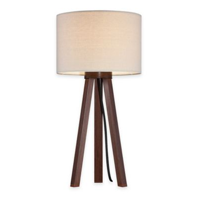 Tripod Table Lamp In Walnut With Linen Shade