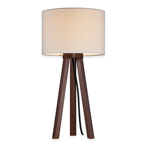 Tripod Table Lamp In Walnut With Linen Shade Bed Bath