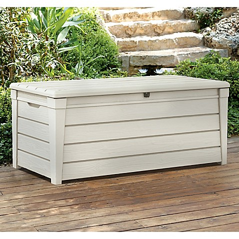 Keter Brightwood 120 Gallon Deck Box In White Bed Bath