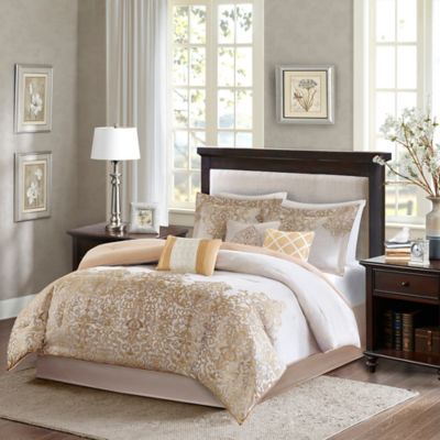 madison park vanessa california king comforter set in gold - Cal King Comforter Sets