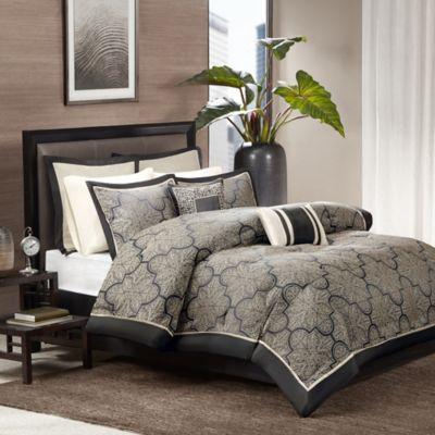 Madison Park Medina 8 Piece California King Comforter Set In Black