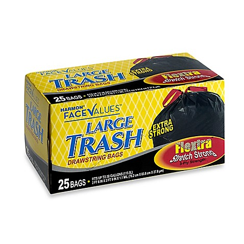 image of Harmon® Face Values™ 25-Count 30 Gallon Large Trash Drawstring Bags