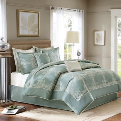 Madison Park Signature Newhaven 8 Piece King Comforter Set In Blue