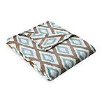 Madison Park Ikat Diamond Oversized Throw in Aqua