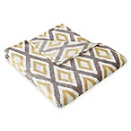 Madison Park Ikat Diamond Oversized Throw in Yellow