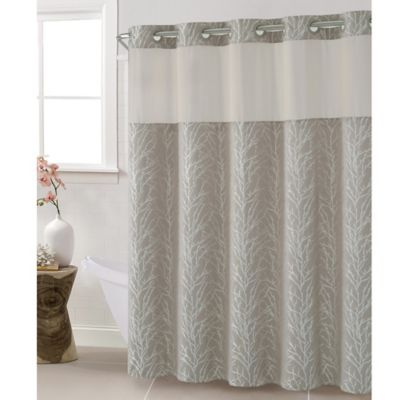 Hookless Jacquard Tree Branch 71 Inch X 74 Shower Curtain In Taupe