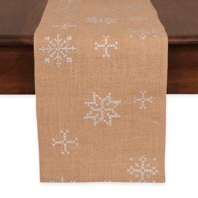 Jute Embroidered Snowflake 72 Inch Table Runner