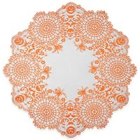 Heritage Lace® Frightful 36-Inch Round Topper in Orange/Black