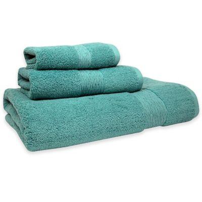 jessica simpson signature bath towel in aqua set of 2