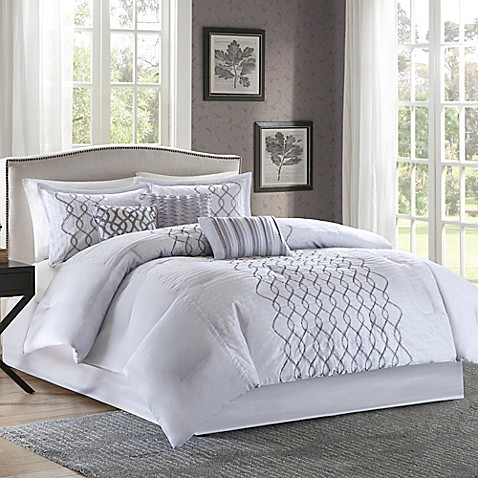 Madison park iris comforter set in silver bed bath beyond - Bed bath and beyond bedroom furniture ...