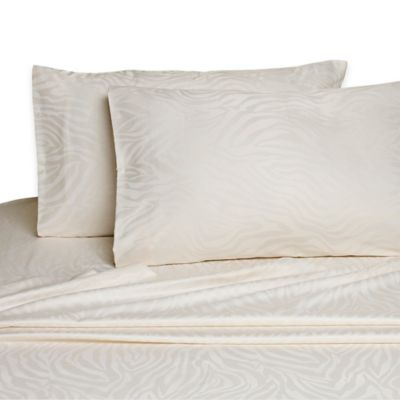Zebra Jacquard Queen Sheet Set In Ivory