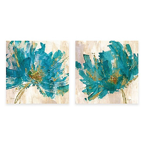contemporary teal flower canvas wall art bed bath beyond. Black Bedroom Furniture Sets. Home Design Ideas
