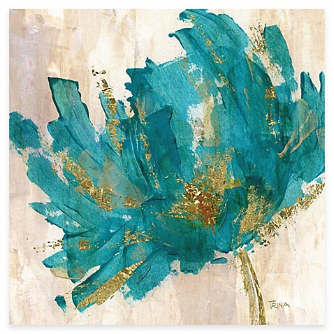 Courtside Market Contemporary Teal Flower I Canvas Wall