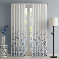 Regency Heights Regency Heights Isla Floral Sheer 95-Inch Rod Pocket Window Curtain Panel in Blue