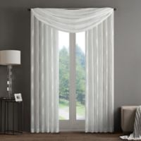 Regency Heights Aria Stamp Sheer Window Scarf Valance in White