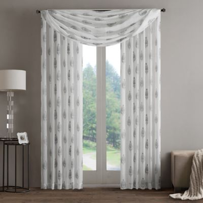Regency Heights Aria Stamp Sheer Window Scarf Valance In Taupe