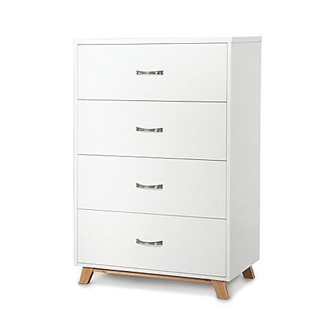 Child craft soho 4 drawer chest in white natural buybuy for Child craft soho crib natural