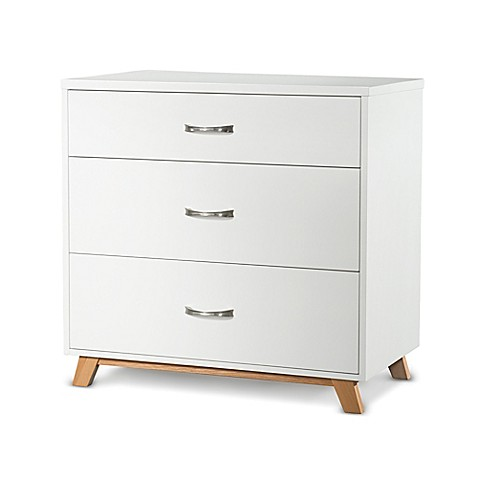 Child craft soho 3 drawer chest in white natural bed for Child craft soho crib natural