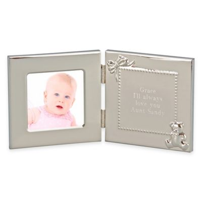 3 inch x 3 inch picture frame with engraving plate in brushed silver
