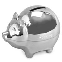 Large Piggy Bank in Silver