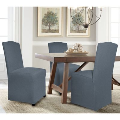 perfect fit reversible parsons chair slipcover in steel