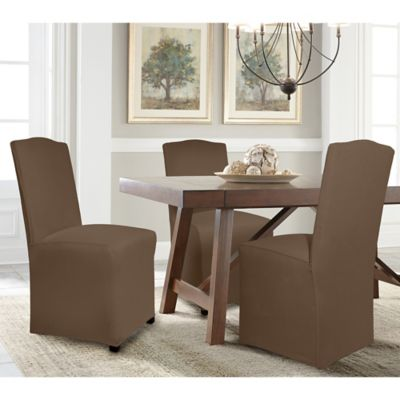 perfect fit reversible parsons chair slipcover in chocolate