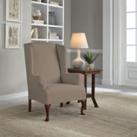 Perfect Fit® Reversible Wing Chair Slipcover in Khaki