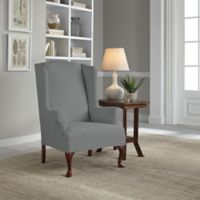 Perfect Fit® Reversible Wing Chair Slipcover in Steel