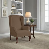 Perfect Fit® Reversible Wing Chair Slipcover in Chocolate