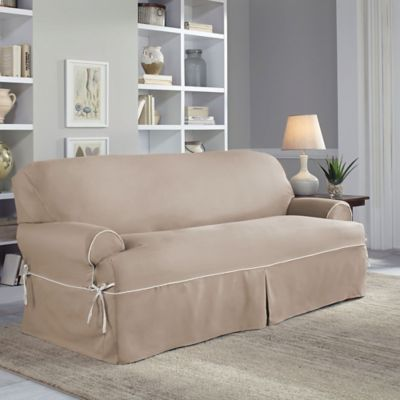Perfect Fit Classic Twill TSofa Slipcover Bed Bath Beyond