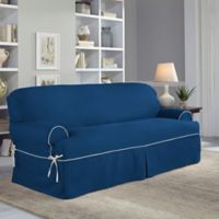Perfect Fit Clic Twill T Sofa Slipcover In Navy