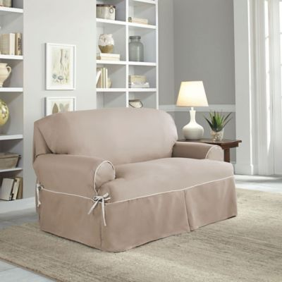 perfect fit classic twill tloveseat slipcover in taupe