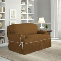 Perfect Fit® Classic Twill T-Loveseat Slipcover in Cocoa