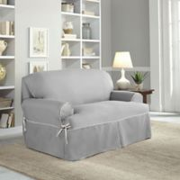 Perfect Fit® Classic Twill T-Loveseat Slipcover in Platinum
